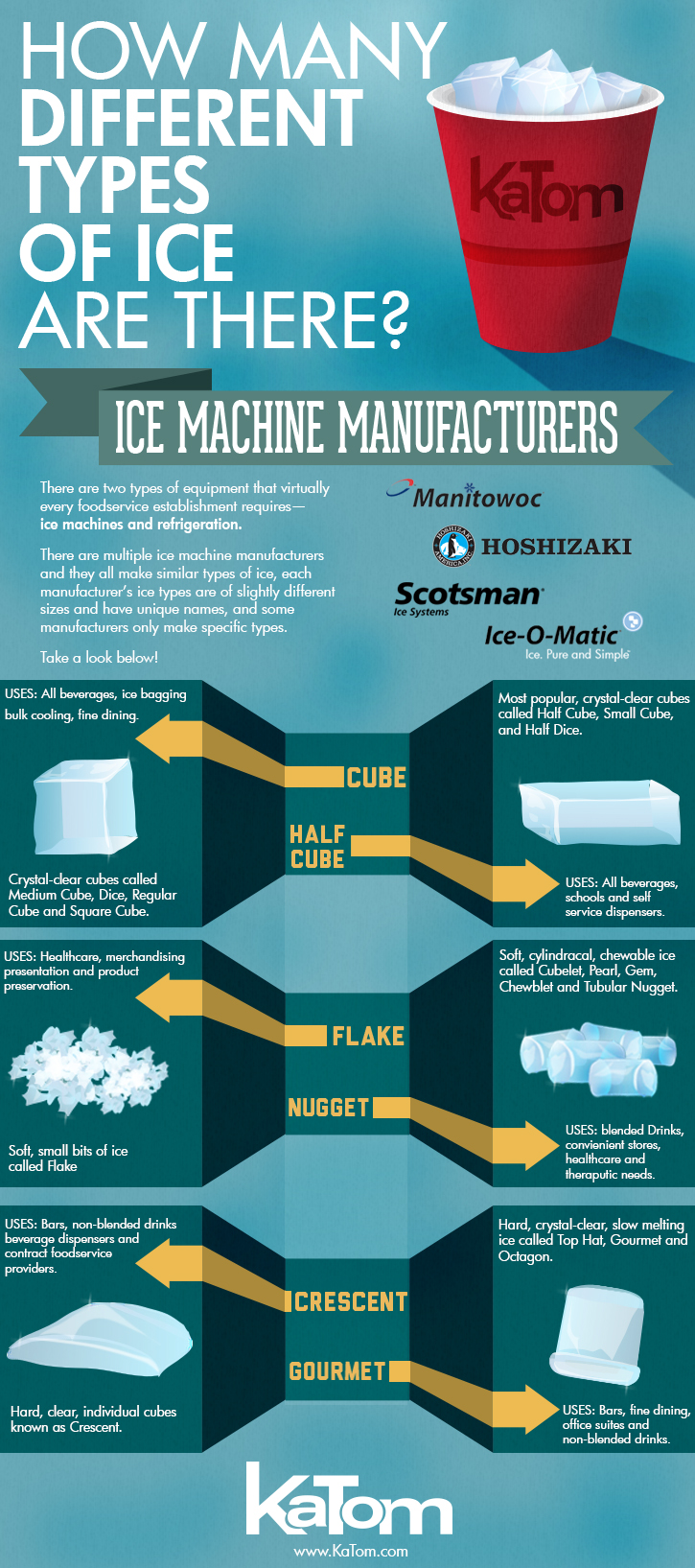 Commercial Ice Maker Infographic of Ice Cube Types